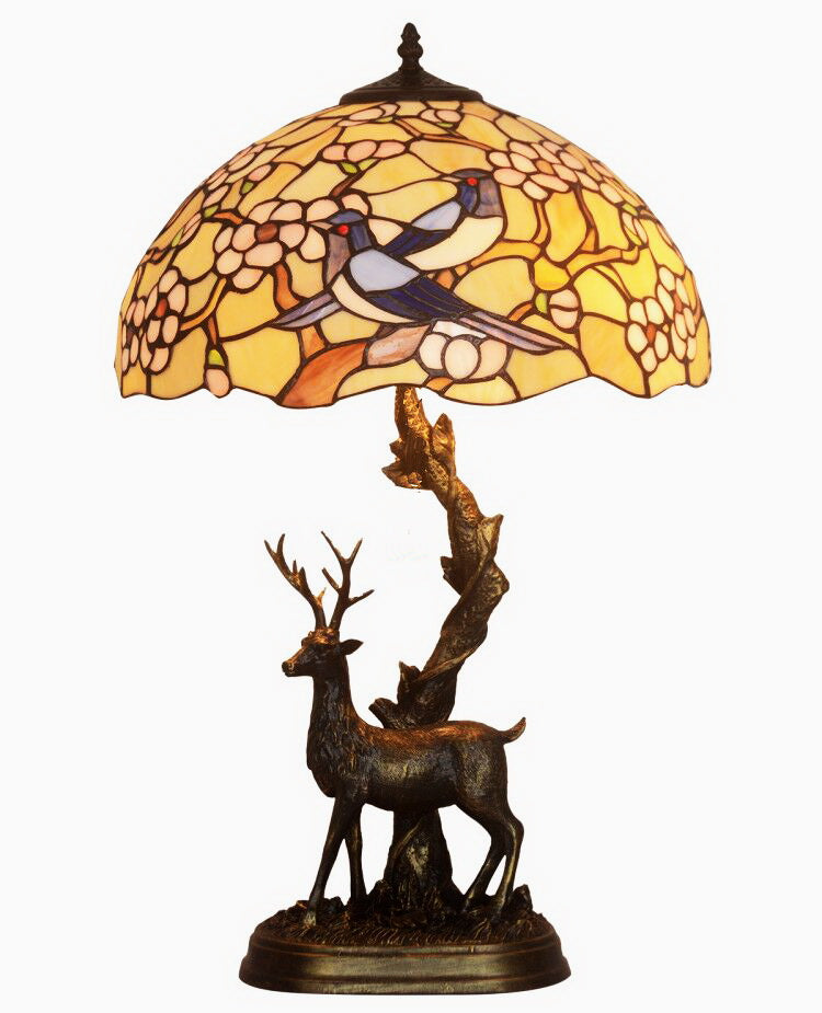 "16"" Large Tiffany table lamp Birds  Plum blossom with Reindeer Sculpture Base"