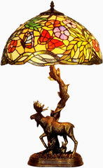 16?? Large tiffany table lamp butterfly in the flower with Moose Sculpture Base