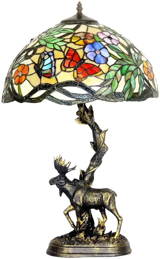 "16"" Large tiffany table lamp butterfly in the flower with Moose Sculpture Base"