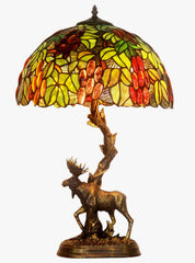 "16"" Large tiffany table lamp Grape Vine Leaf Moose Sculpture Base"