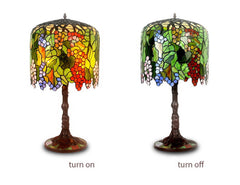 Limited Edition@Art Deco Grape Style Tiffany Stained Glass Table Lamp