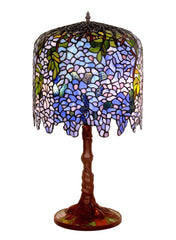 Limited Edition@Museum Quality  Blue Wisteria Tiffany Stained Glass Table Lamp