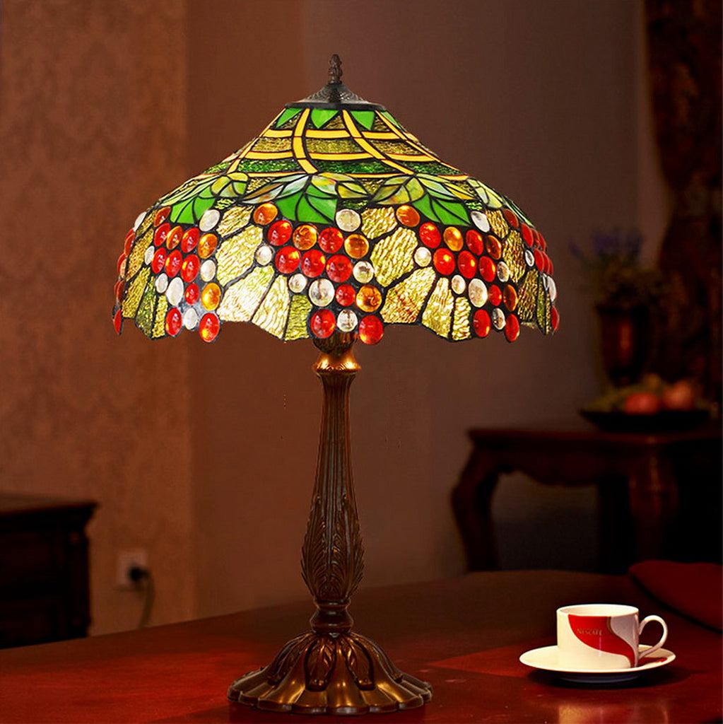 "Limited Edition Fabulous 18"" Grape Style Tiffany Table Lamp"