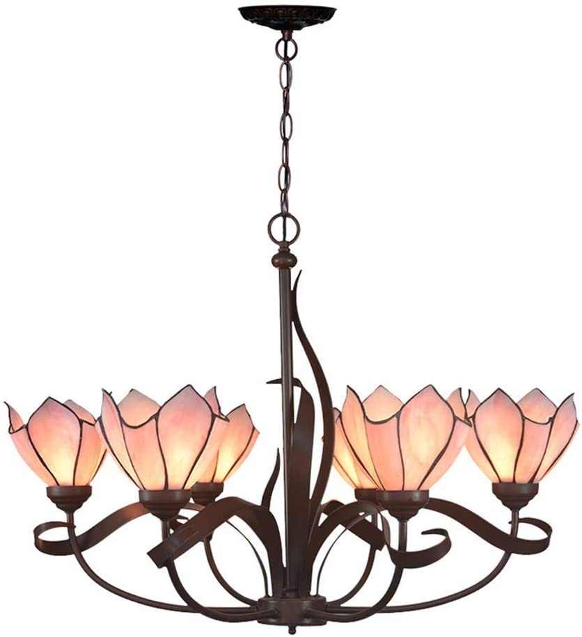 6-Light Pink Lotus Style Tiffany Chandelier Pendant Lights