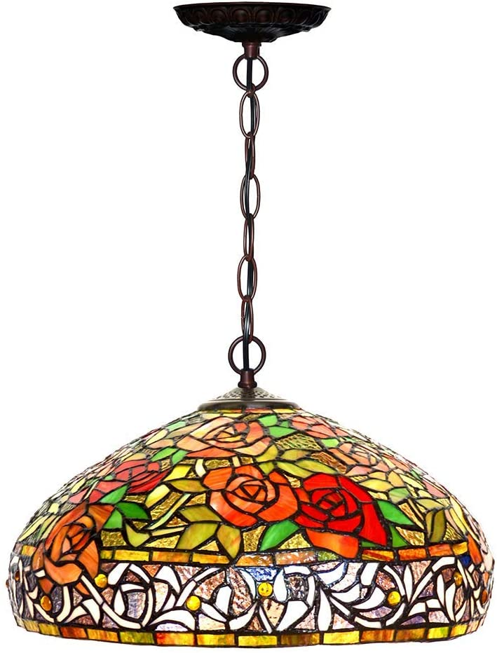 "Large 18"" Wide  Classical Rosa 'Love' Stained Glass Leadlight Tiffany Pendant Light *Limited"