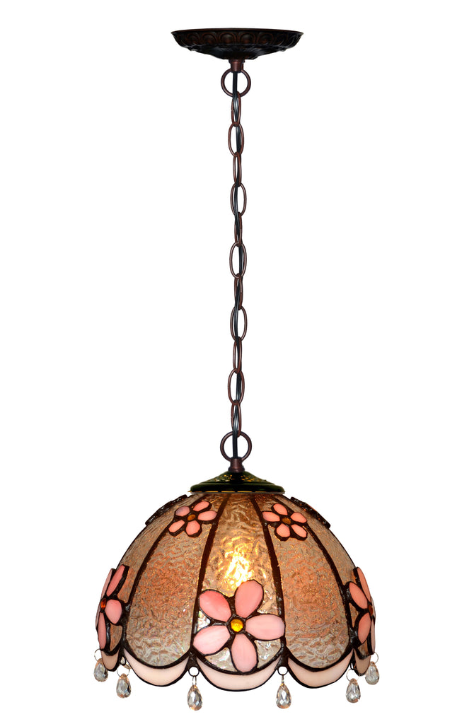 Small Pink Daisy Style Tiffany Stained Glass Pendant Lights