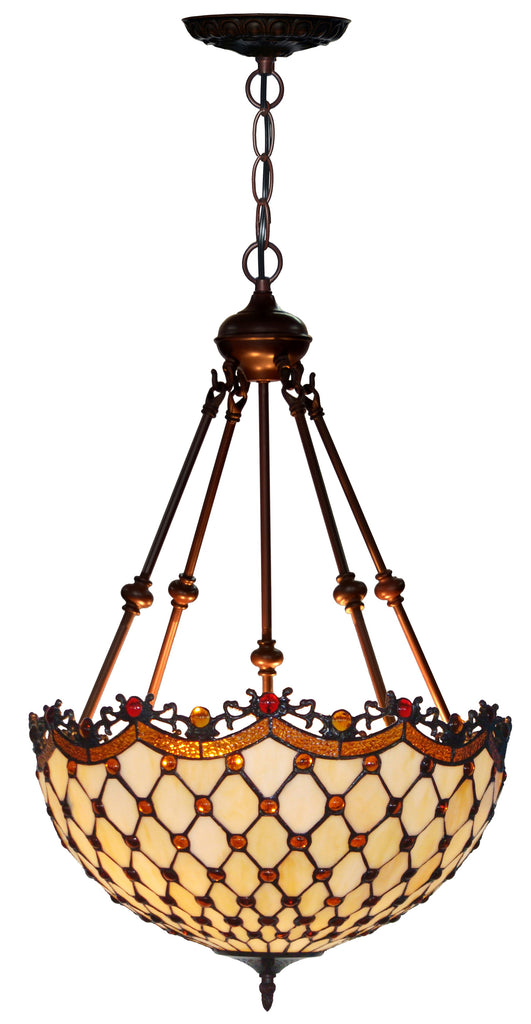 "Huge Size Fabulous 18"" Beaded  Tiffany Uplihgter Pendant Lights"