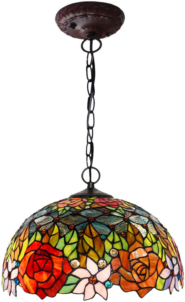 "Large 16"" Red Rose Tiffany Stained Glass Shade Downlight Tiffany Pendant Lights"
