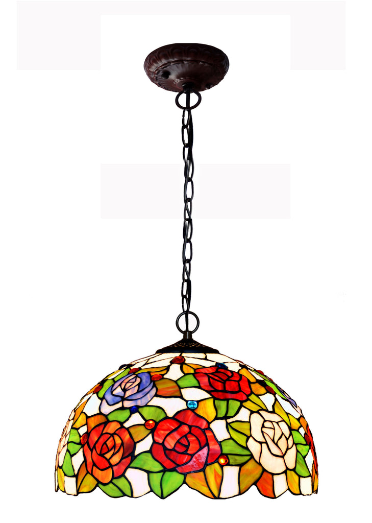 "16"" Rose Style Stained Glass Leadlight Tiffany Pendant Light"
