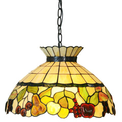 "Large 18"" Wide  Vintage Style Fruit Stained Glass Leadlight Tiffany Pendant Light *Limited"