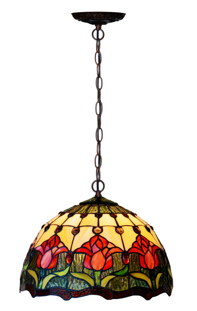 "12"" Red Tulip Theme Stained Glass  Cafe Tiffany Hanging Light"