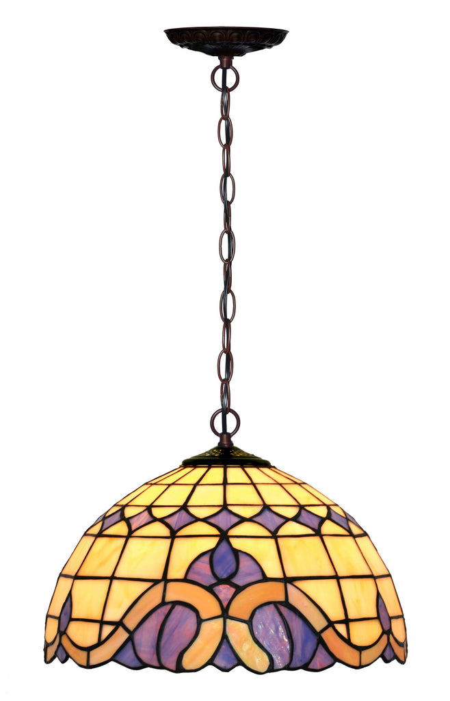 "12"" Baroque Style Stained Glass  Cafe Tiffany Hanging Light"