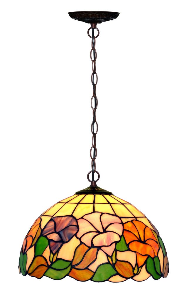 "12"" Flower Morning Glory Style Stained Glass  Cafe Tiffany Hanging Light"