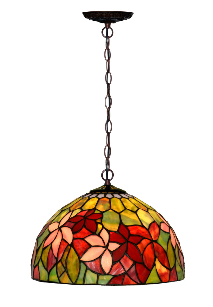 "12"" Flower Clematis Stained Glass  Cafe Tiffany Hanging Light"