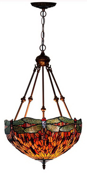 "Huge Size Fabulous 18"" Red Dragonfly  Tiffany Uplihgter Pendant Lights"