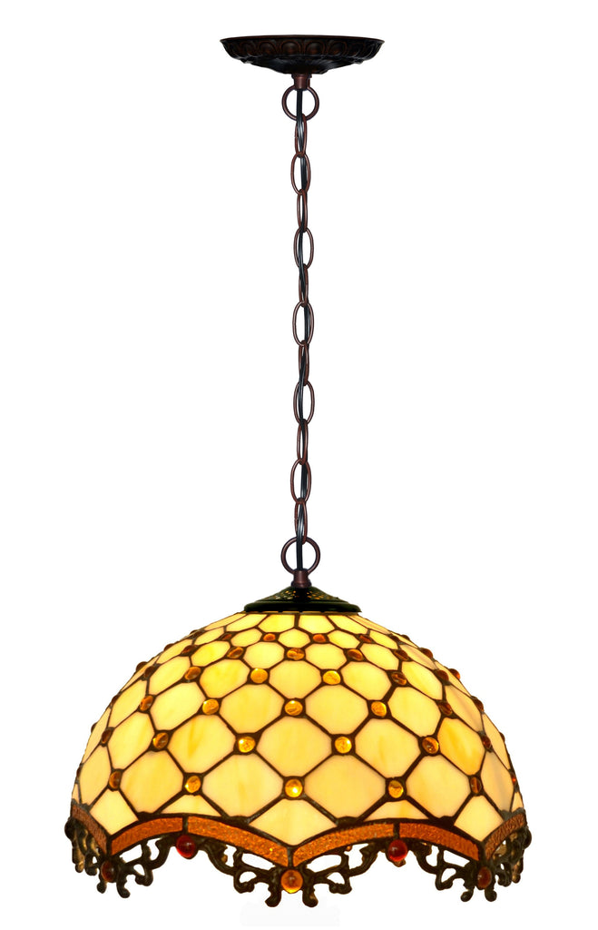 "12"" Classical Beaded  raindrop Style Tiffany Pendant light"