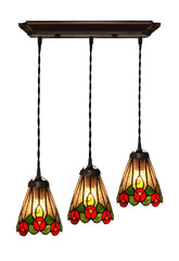3 light Clove Flower Style Tiffany Stained Glass Pendant Lights