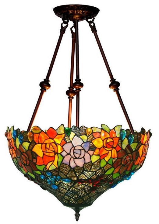 "Large Fabulous 17"" Flower  Tiffany Uplihgter Pendant Lights"