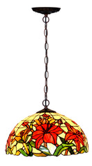 "Large 16"" Lily Style Stained Glass Cafe Tiffany Hanging Light"