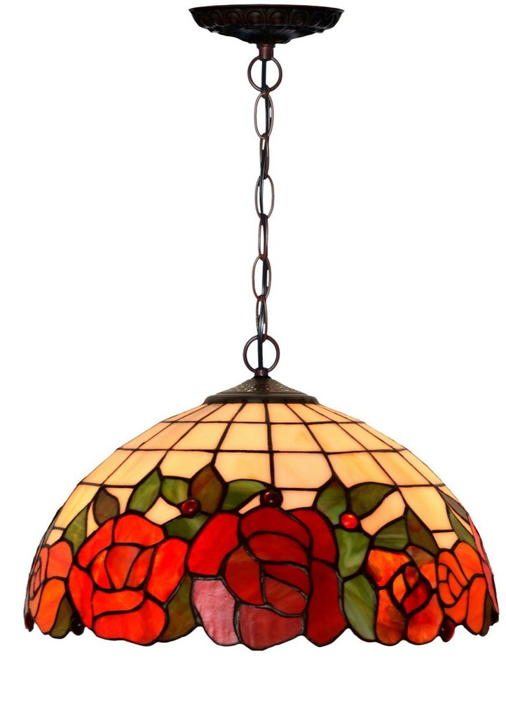 "Large 16"" Rose Stained Glass Cafe Tiffany Hanging Light"
