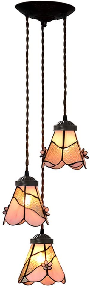 3 light Pink Flower Style Tiffany Stained Glass Pendant Lights