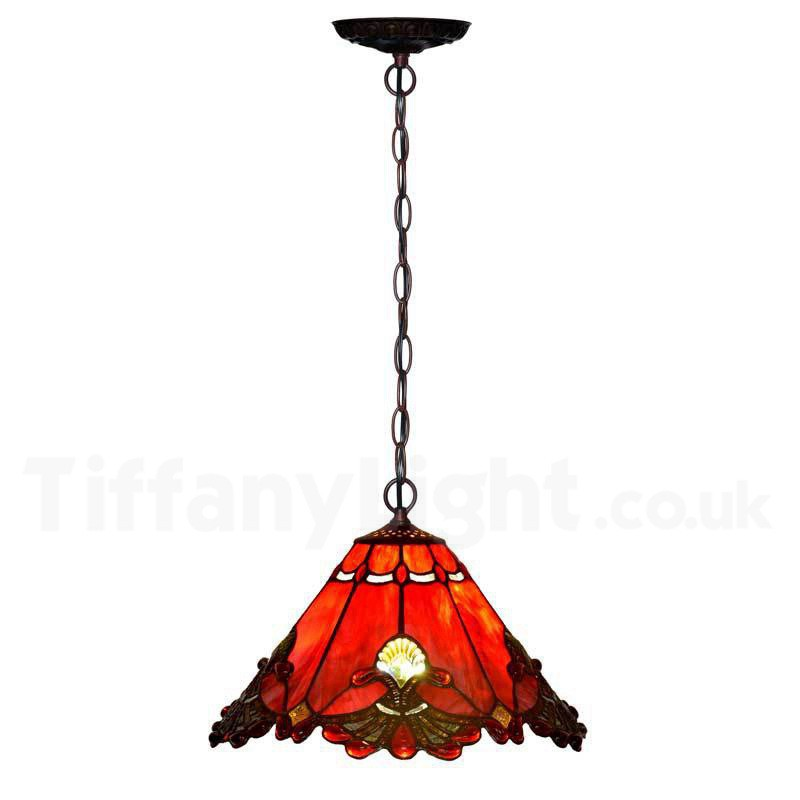 "12"" Red Jewel Carousel Tiffany Stained Glass Shade Downlight Tiffany Pendant Lights"