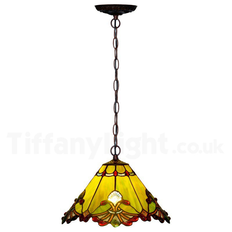 "Copy of 12"" Red Jewel Carousel Tiffany Stained Glass Shade Downlight Tiffany Pendant Lights"