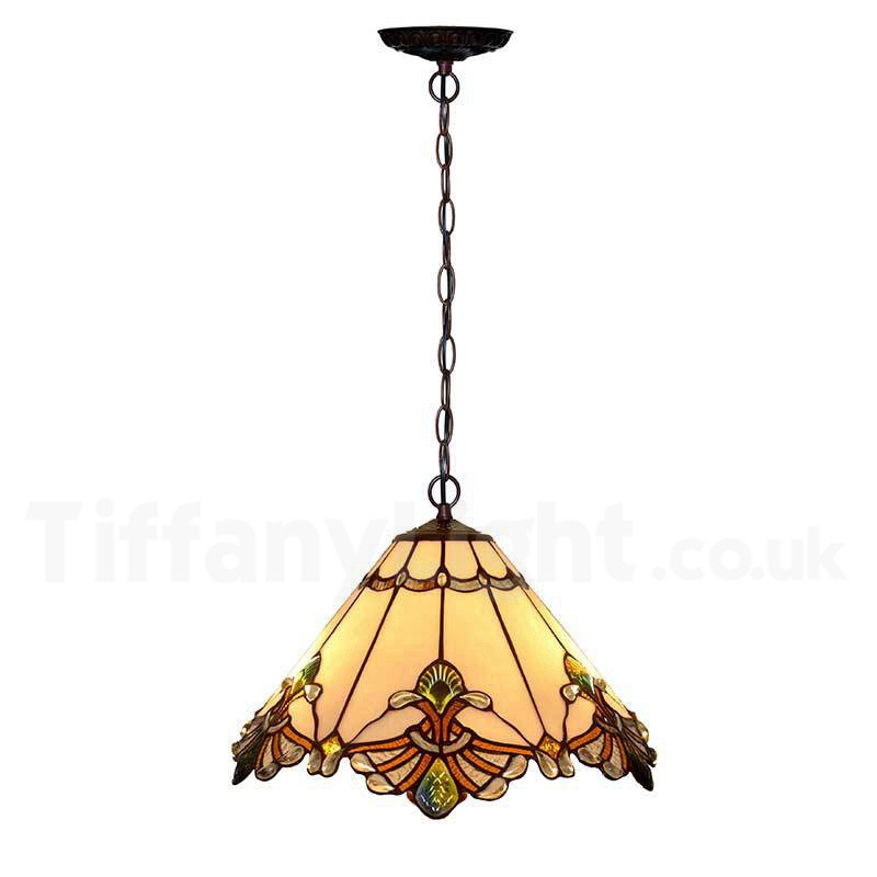 "12"" White Jewel Carousel Tiffany Stained Glass Shade Downlight Tiffany Pendant Lights"