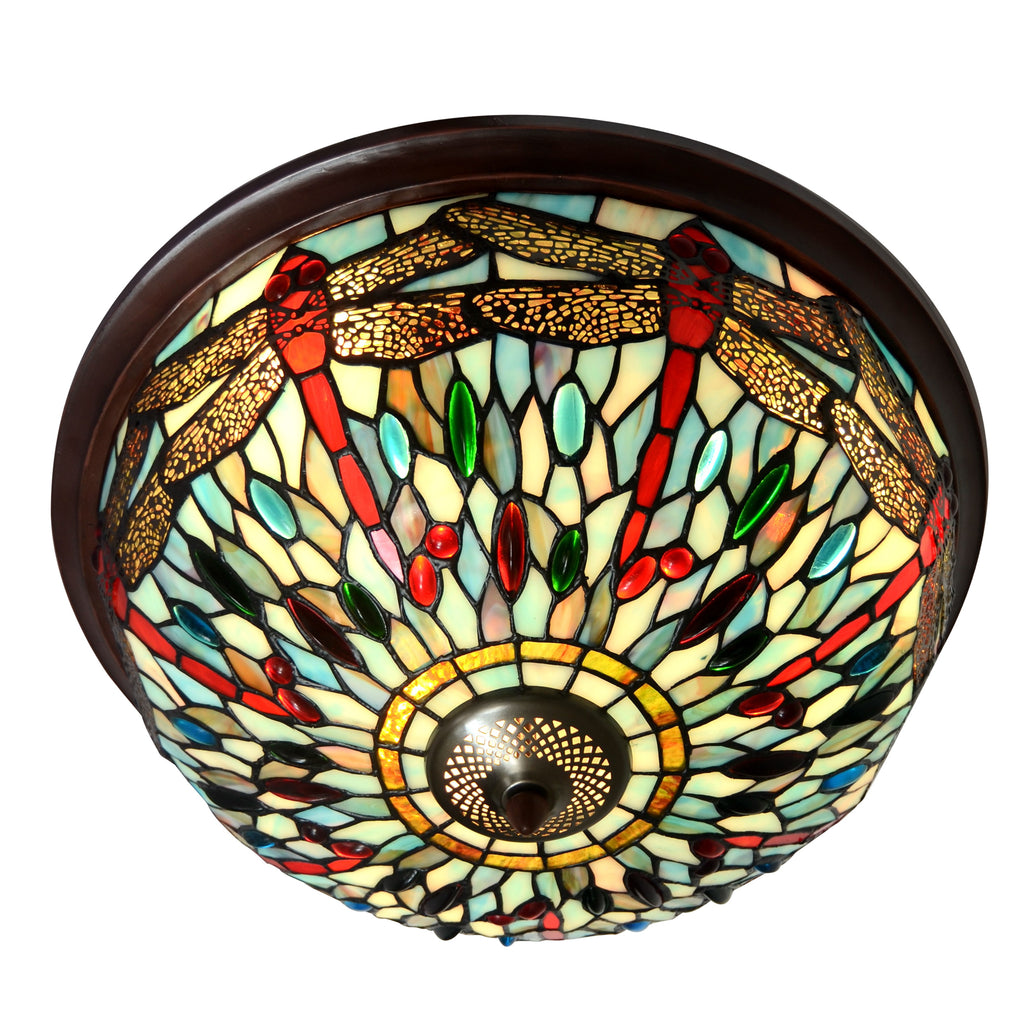 Large Dragonfly Tiffany Style  Flush Mount Ceiling Lights