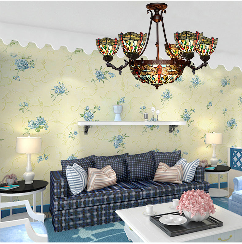 7-Light Blue Dragonfly Style Tiffany  Chandelier Pendant Lights