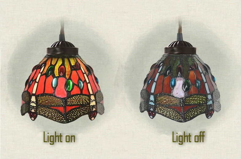 3 light Red Dragonfly Style Tiffany Stained Glass Pendant Lights