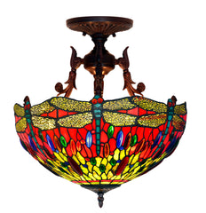 Large Red Dragonfly Tiffany Style  Semi Flush Mount Ceiling Lights