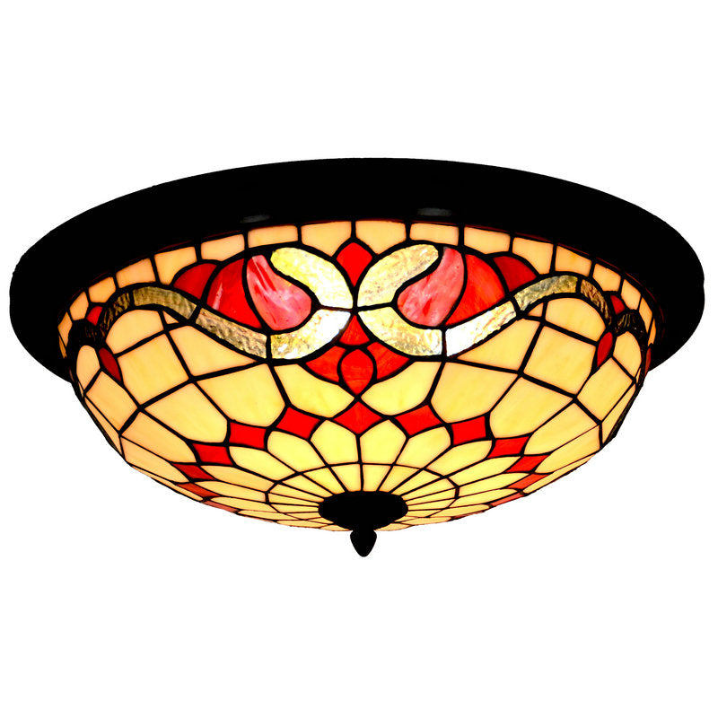 "Large 18"" Wide 3 lights Baroque Tiffany Style  Flush Mount Ceiling Lights"