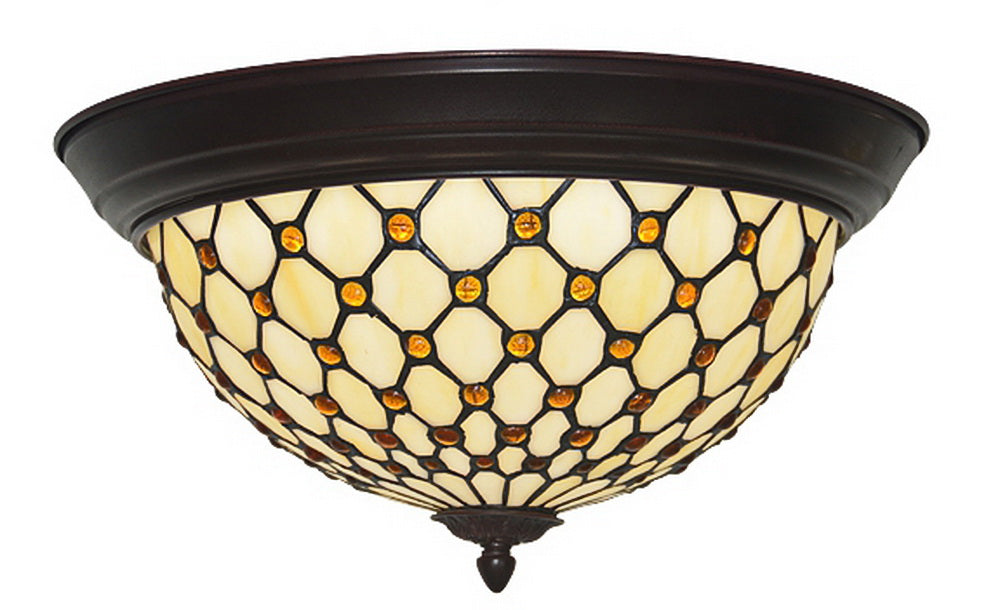 "15"" Wide Bead Tiffany Style  Flush Mount Ceiling Lights"