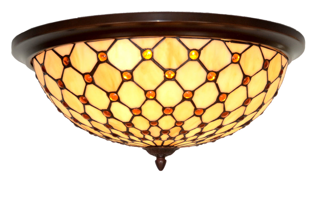 "Large 18"" Wide 3 lights Bead Tiffany Style  Flush Mount Ceiling Lights"