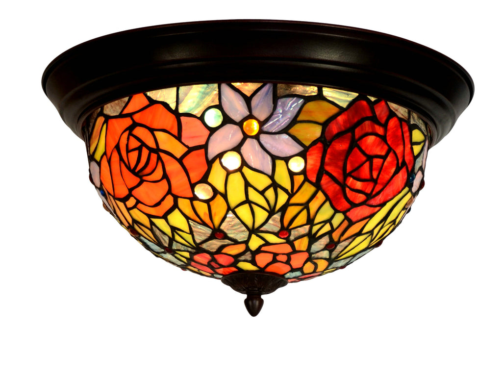 "15"" Wide Rose Tiffany Style  Flush Mount Ceiling Lights"