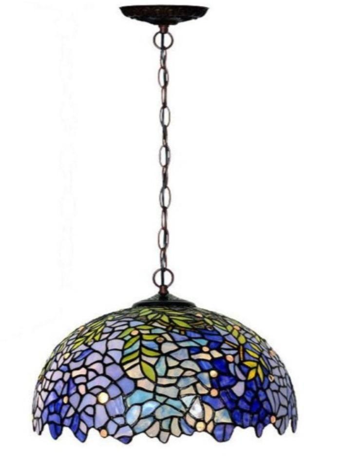 "Large 16"" Blue Wisteria Tiffany Stained Glass Shade Downlight Tiffany Pendant Lights"