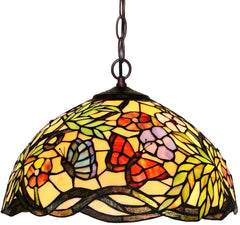 "16"" Flower Butterfly Style Stained Glass Leadlight Tiffany Pendant Light"