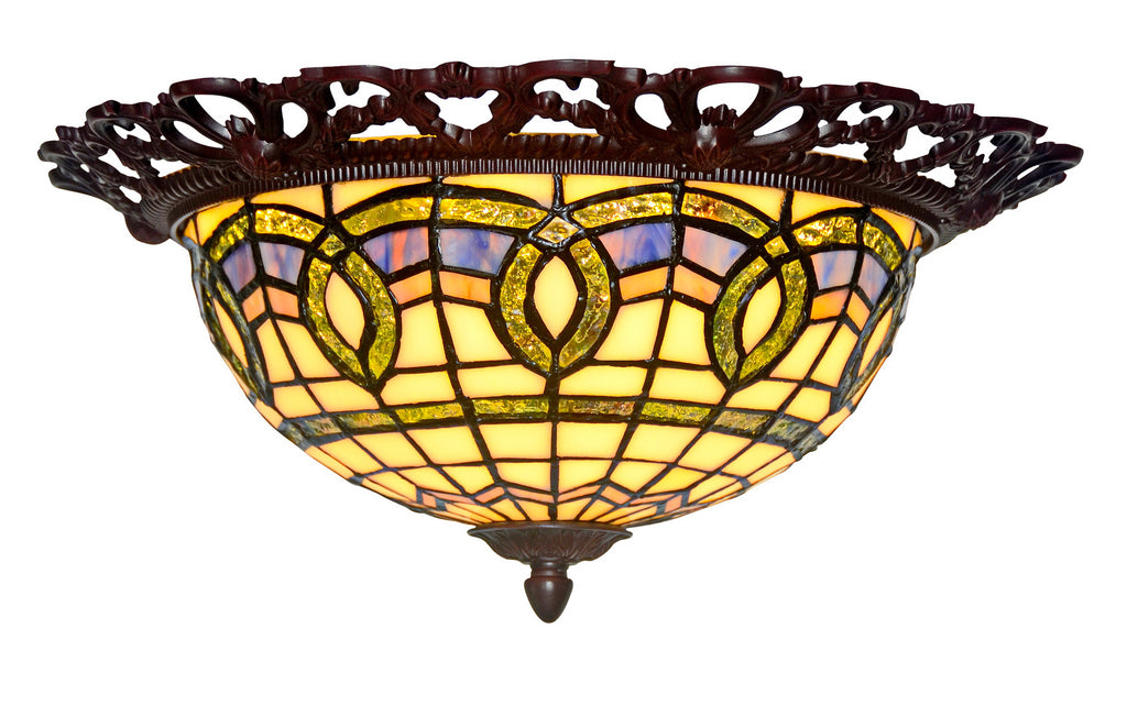 "15"" Wide Baroque Tiffany Style  Flush Mount Ceiling Lights"