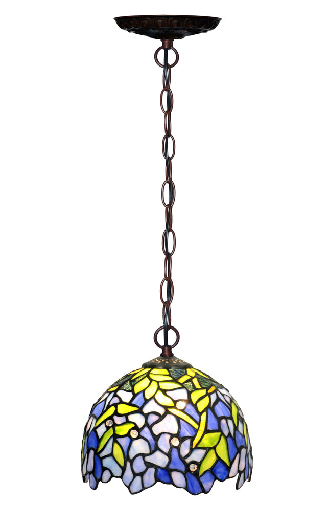 Small Blue Wisteria Style Tiffany Stained Glass Pendant Lights