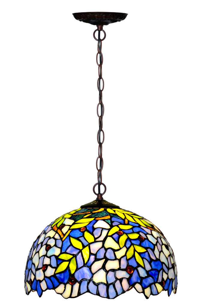 "12"" Blue Wisteria Stained Glass Tiffany Pendant Light"
