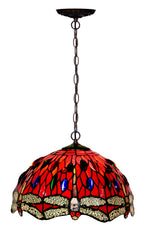 "12"" Red Dragonfly Stained Glass Tiffany Pendant Light"