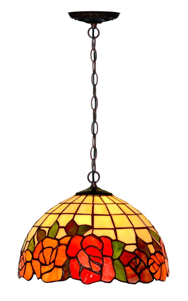 "12"" Flower and Leaf Style Stained Glass  Cafe Tiffany Hanging Light"