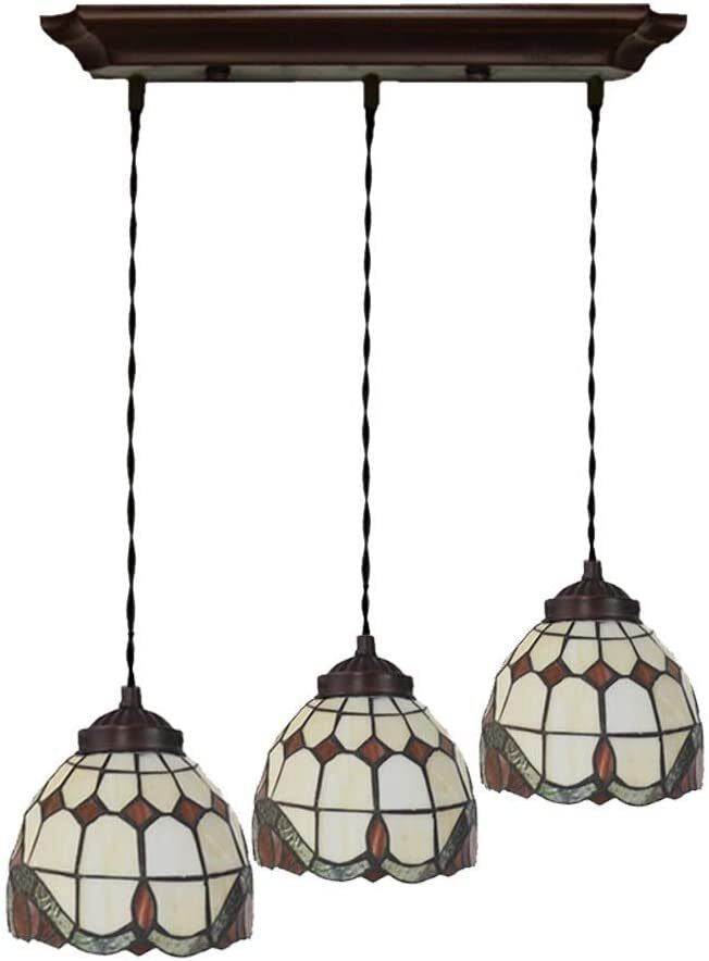 3 light Baroque Style Tiffany Stained Glass Pendant Lights