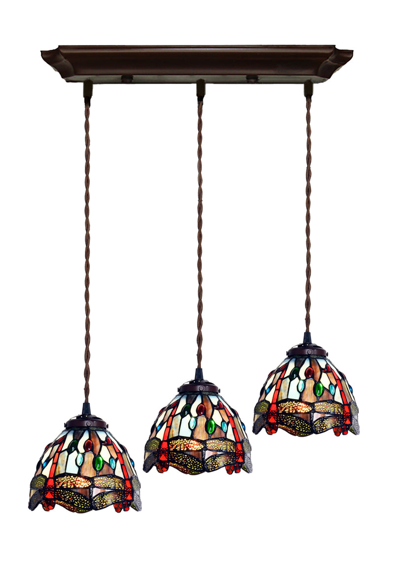 3 Light Blue Dragonfly Style Tiffany Stained Glass Pendant Lights Joanne Tiffany