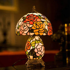 "Exquisite 8"" Traditional Rose Tiffany Table Lamp with Lighted Base"