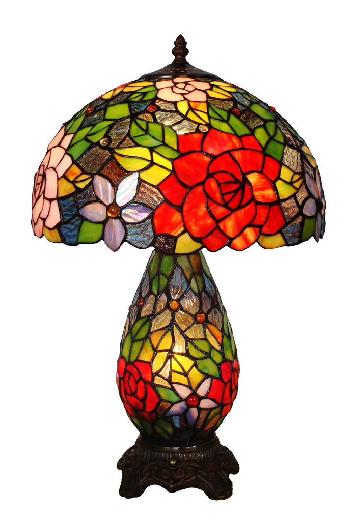 "12"" Traditional Rose Tiffany Table Lamp with Lighted Base"
