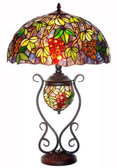 "Huge 18"" Grape Style Double Lights Traditional Tiffany Table Lamp"