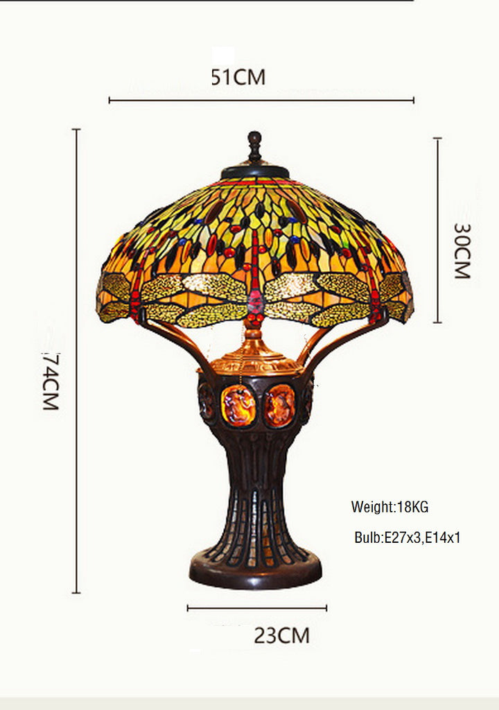 Limited Edition@Huge Tiffany Reproduction Double Lights Traditional Dragonfly Tiffany Table Lamp