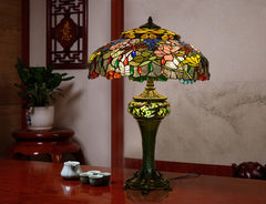 Limited Edition@Huge Tiffany Reproduction Double Lights Traditional Dragonfly Table Lamp